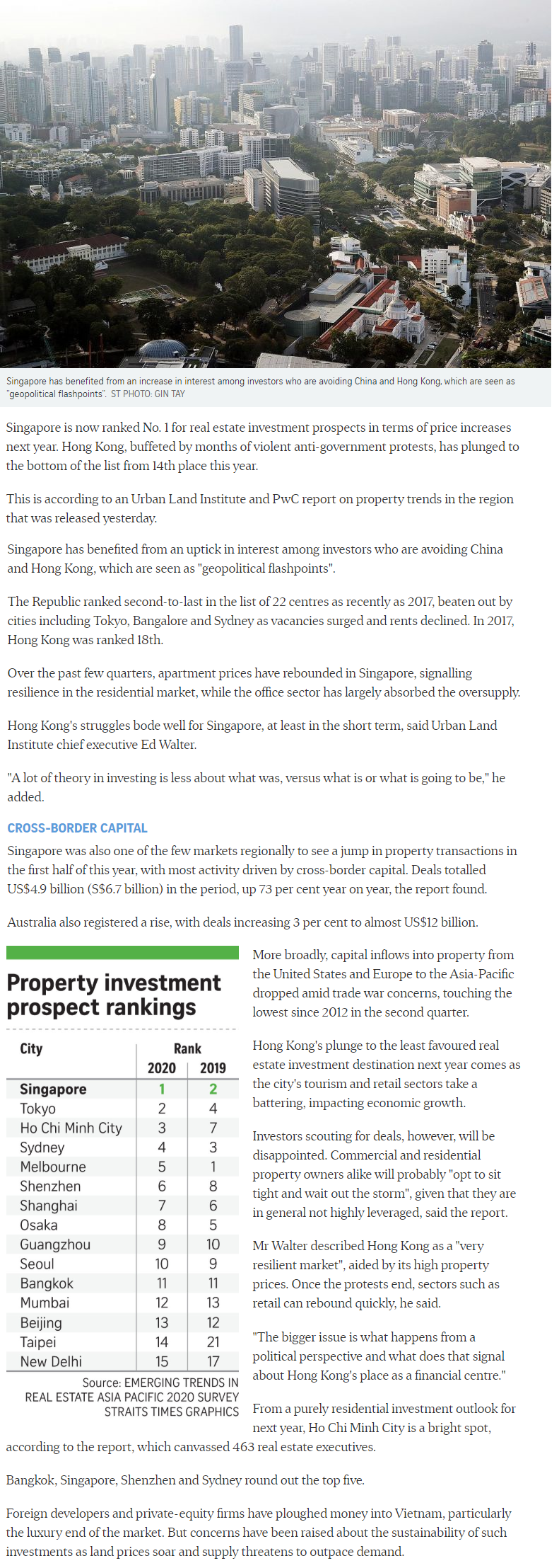 Pollen Collection - Singapore Tops Region For Property Investment Prospects