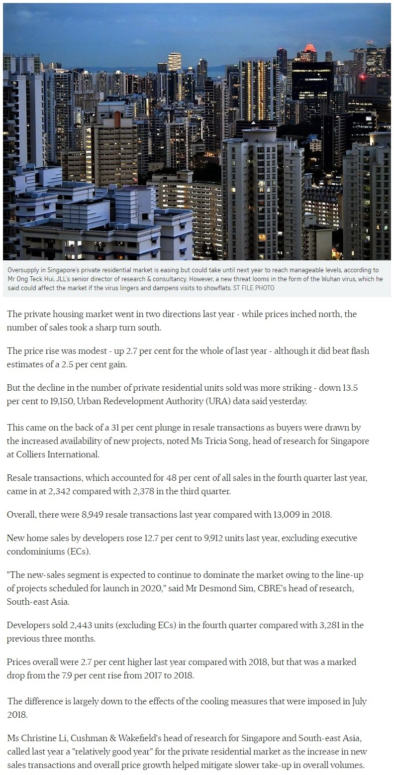 Pollen Collection - Singapore private home prices inch up 2.7% for 2019 Part 1